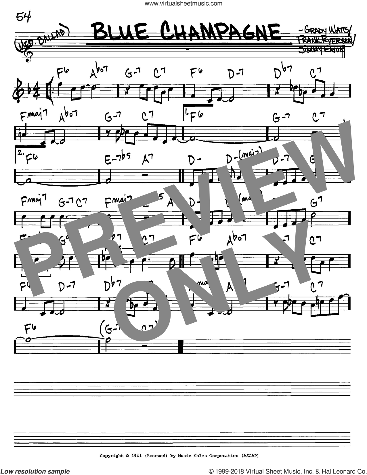 Blue Champagne sheet music for voice and other instruments (C) by Jimmy Eaton, Jimmy Dorsey, Manhattan Transfer, Frank Ryerson and Grady Watts. Score Image Preview.