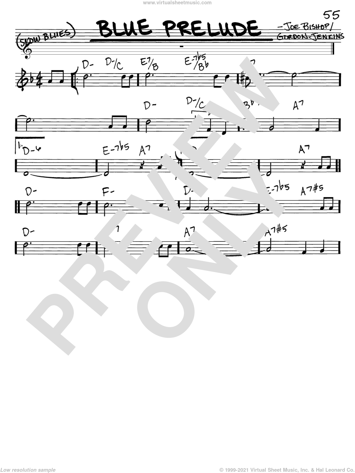 Blue Prelude sheet music for voice and other instruments (in C) by Woody Herman, Gordon Jenkins and Joe Bishop, intermediate skill level