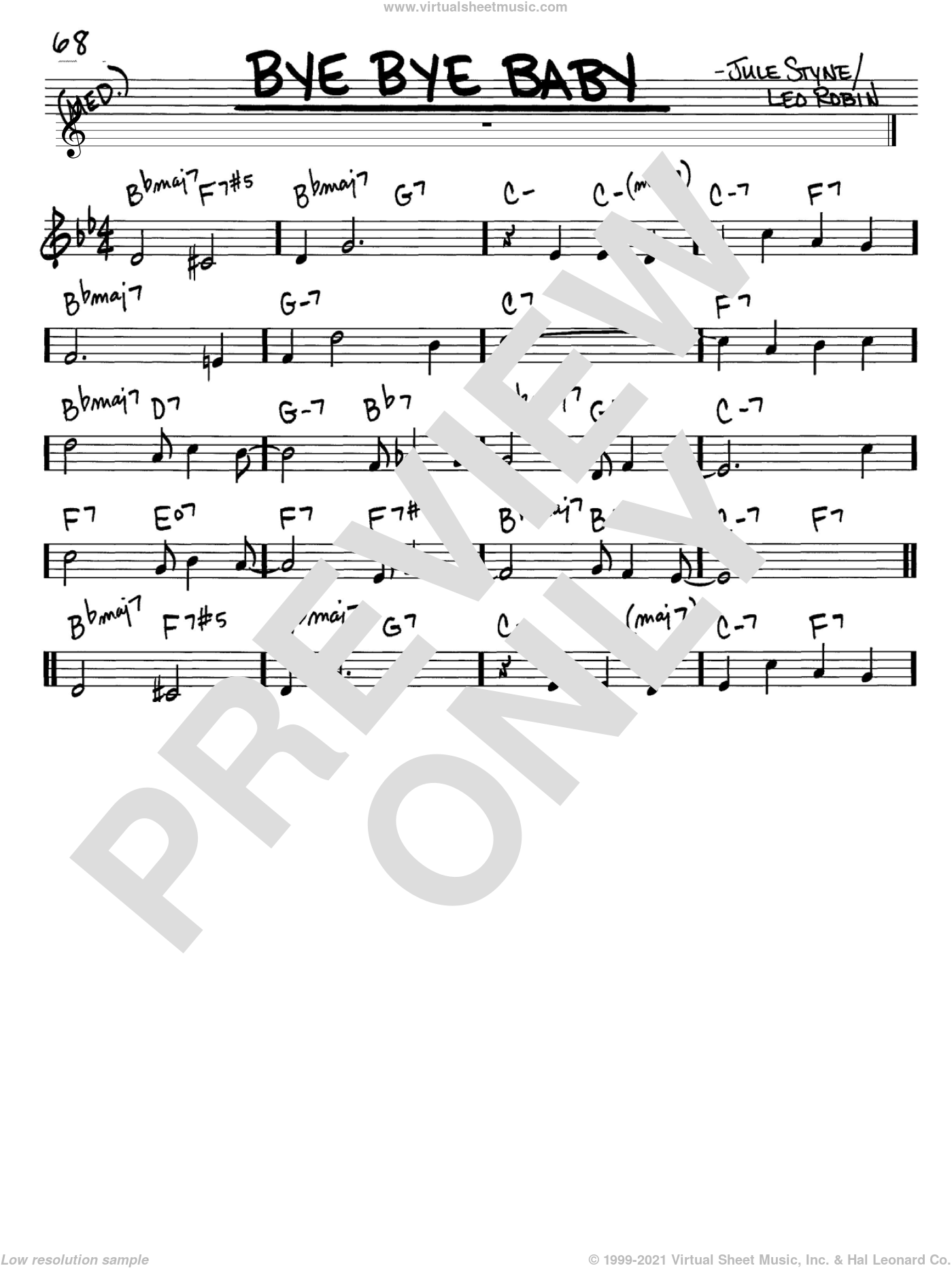 Bye Bye Baby sheet music for voice and other instruments (in C) by Marilyn Monroe, Jule Styne and Leo Robin, intermediate. Score Image Preview.