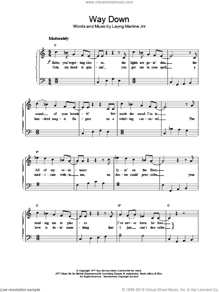 Way Down sheet music for piano solo by Elvis Presley, easy. Score Image Preview.