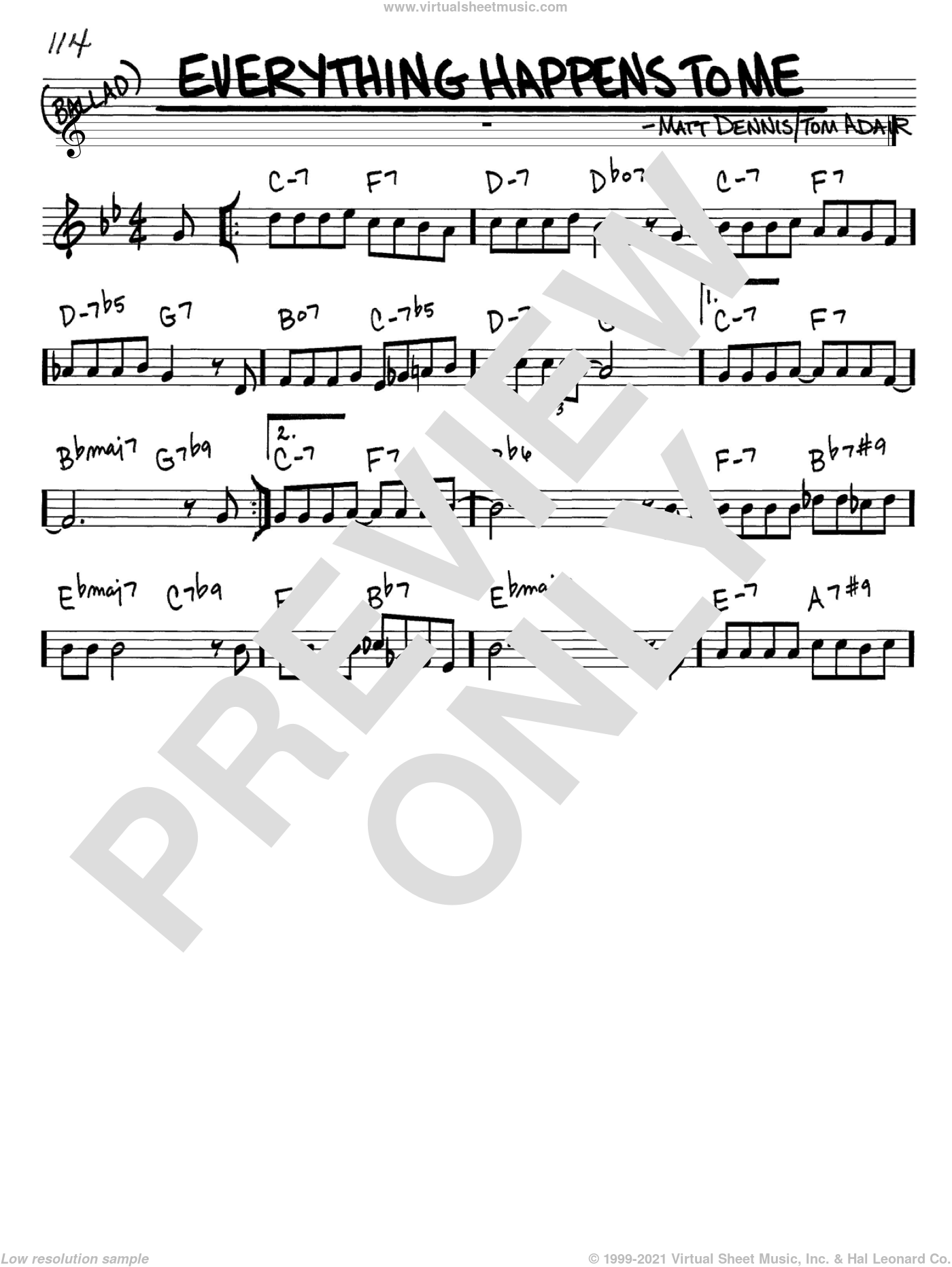 Everything Happens To Me sheet music for voice and other instruments (in C) by Frank Sinatra, Matt Dennis and Tom Adair, intermediate skill level
