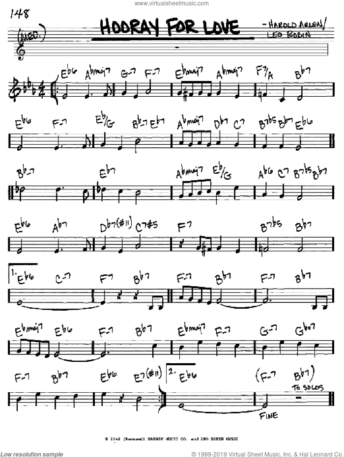 Hooray For Love sheet music for voice and other instruments (C) by Leo Robin