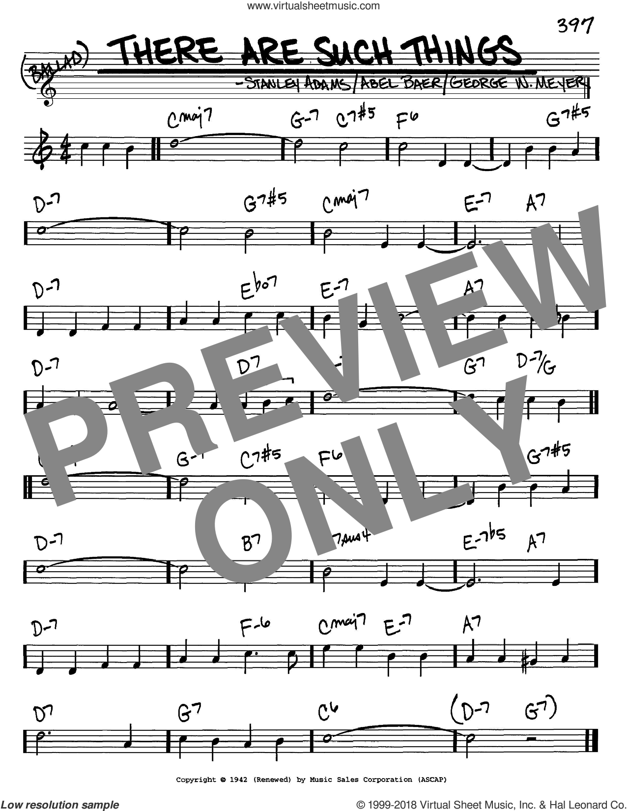There Are Such Things sheet music for voice and other instruments (in C) by Frank Sinatra, Abel Baer, George W. Meyer and Stanley Adams, intermediate skill level