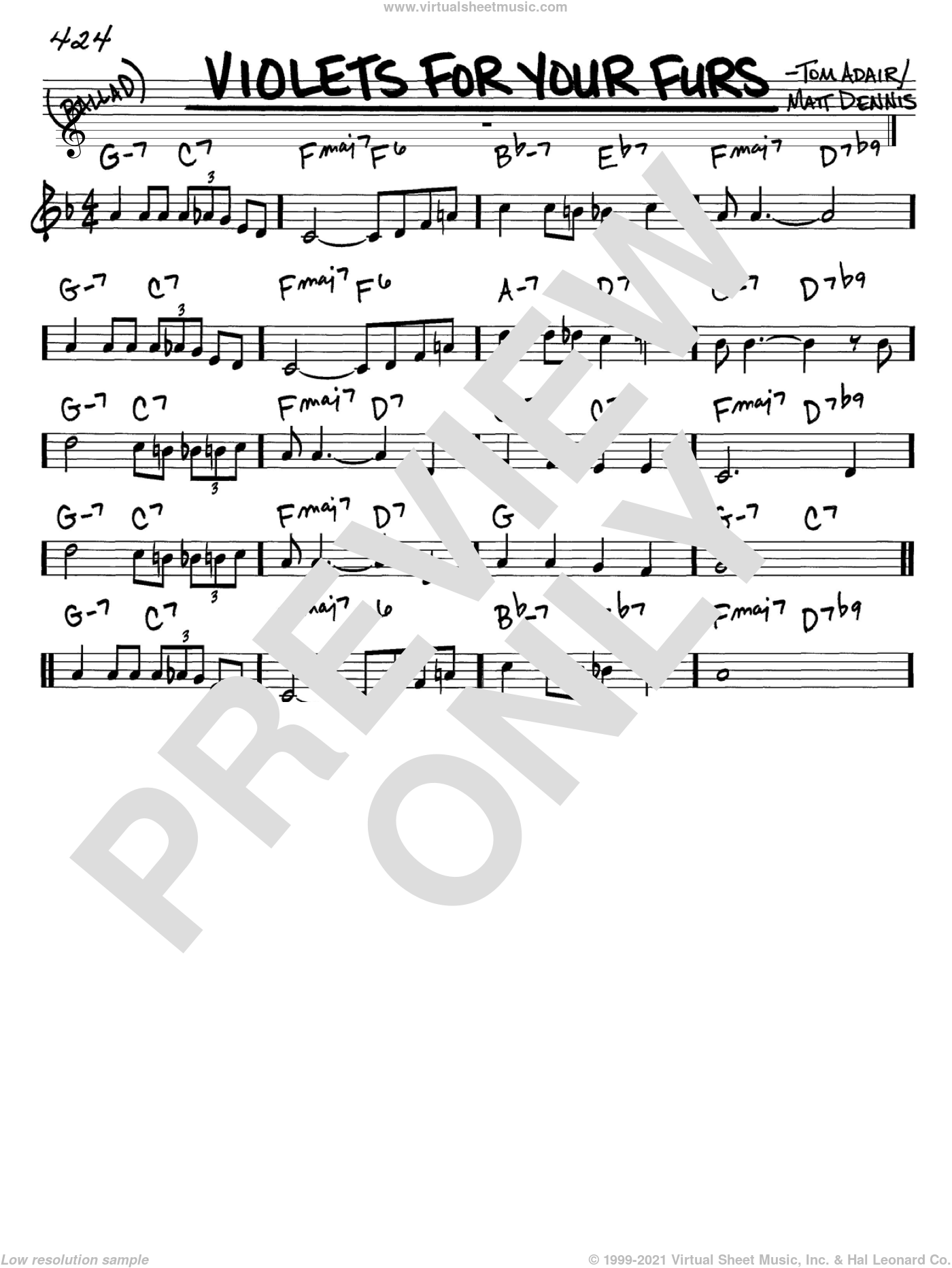 Violets For Your Furs sheet music for voice and other instruments (C) by Tom Adair, Frank Sinatra and Matt Dennis. Score Image Preview.