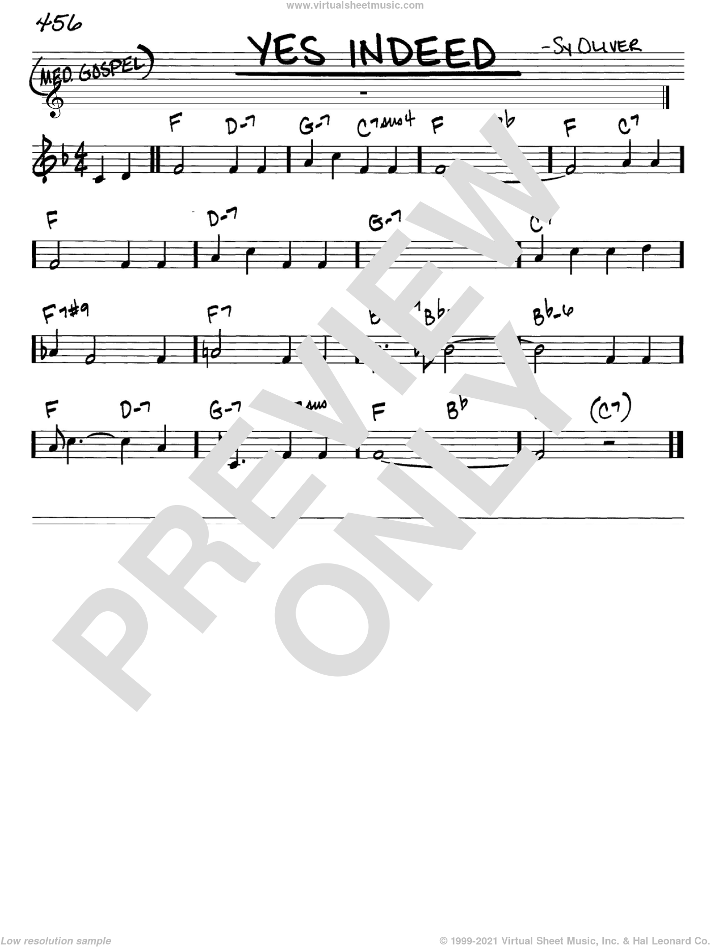 Yes Indeed sheet music for voice and other instruments (C) by Sy Oliver. Score Image Preview.