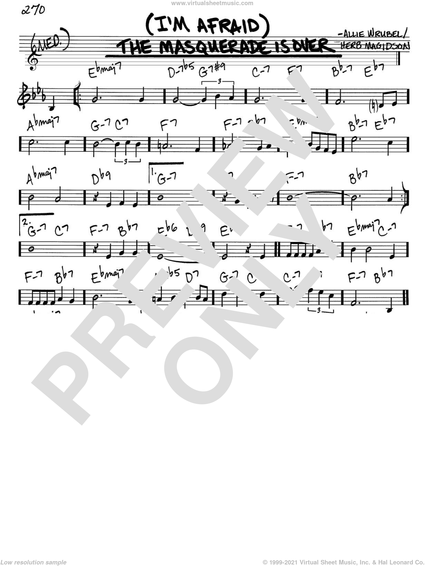 (I'm Afraid) The Masquerade Is Over sheet music for voice and other instruments (C) by Herb Magidson and Allie Wrubel