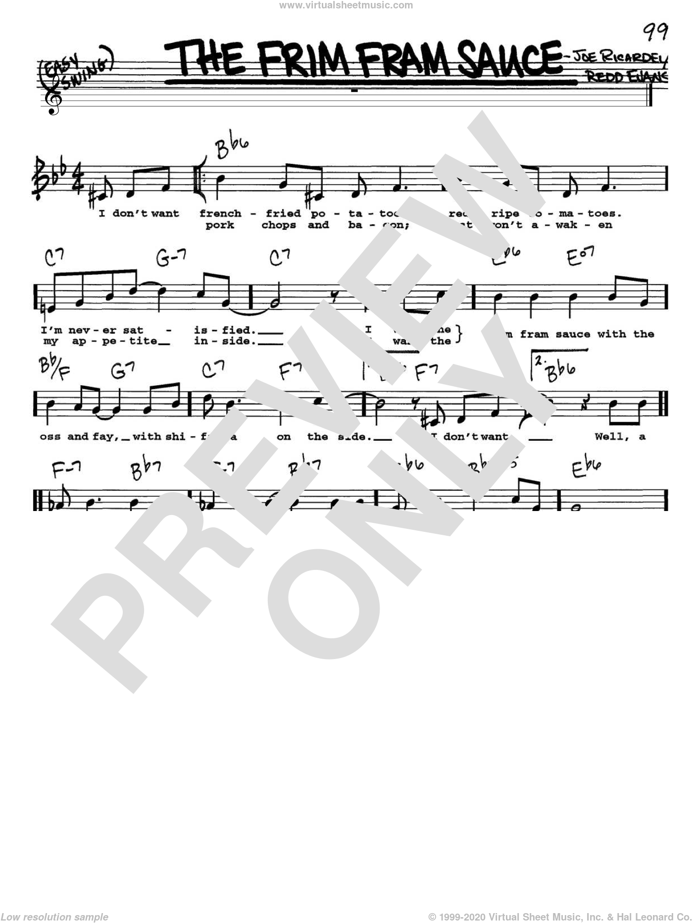 The Frim Fram Sauce sheet music for voice and other instruments (Vocal Volume 1) by Redd Evans and Nat King Cole. Score Image Preview.