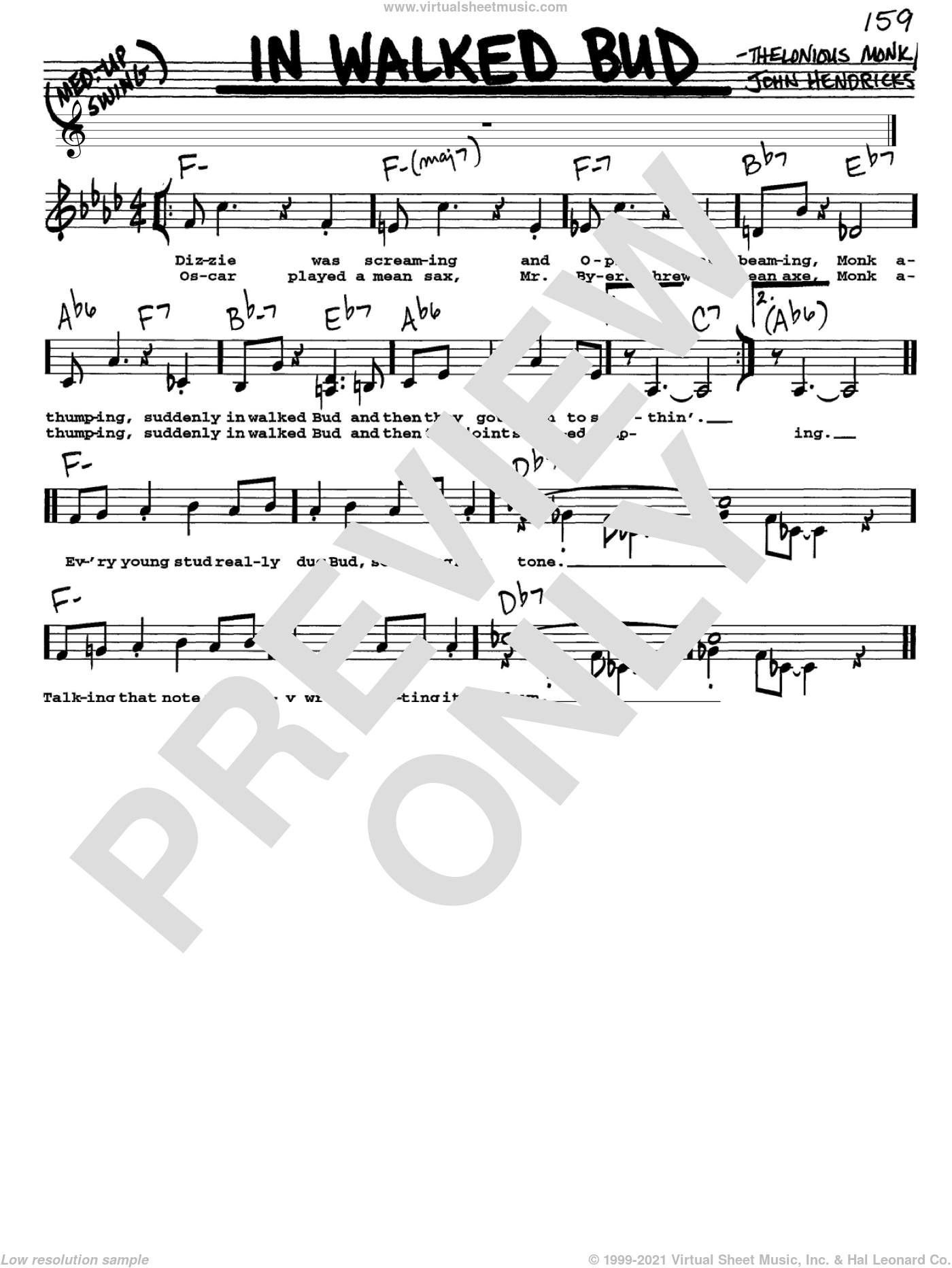 In Walked Bud sheet music for voice and other instruments  by Thelonious Monk, intermediate. Score Image Preview.