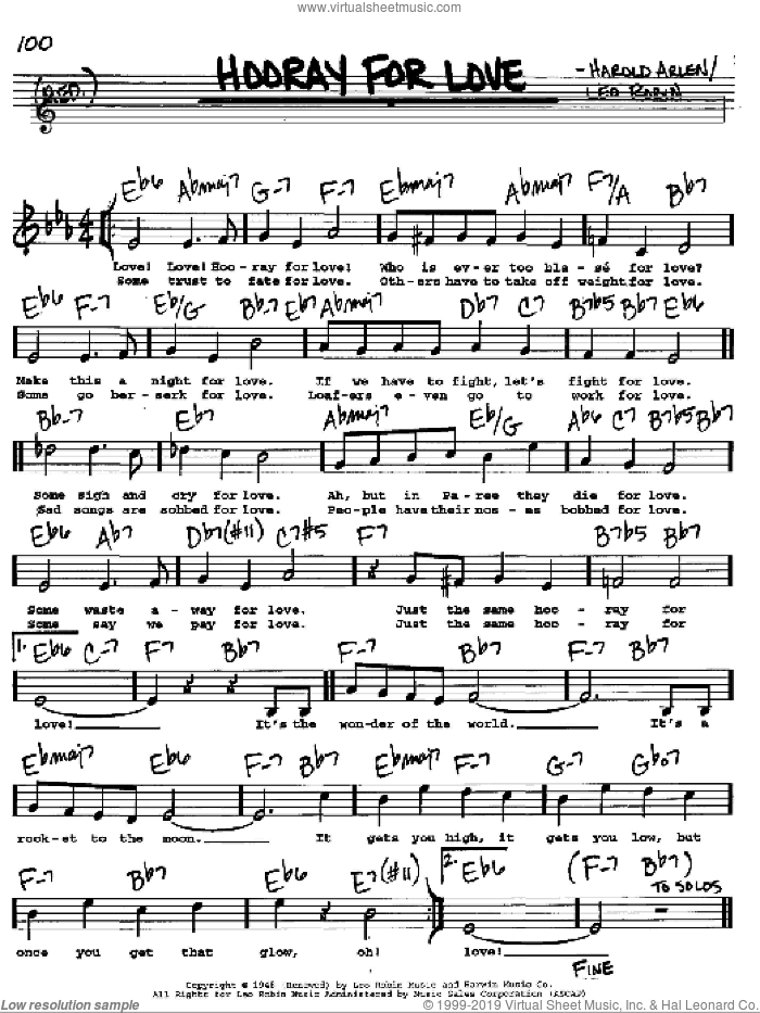 Hooray For Love sheet music for voice and other instruments (Vocal Volume 2) by Leo Robin and Harold Arlen. Score Image Preview.