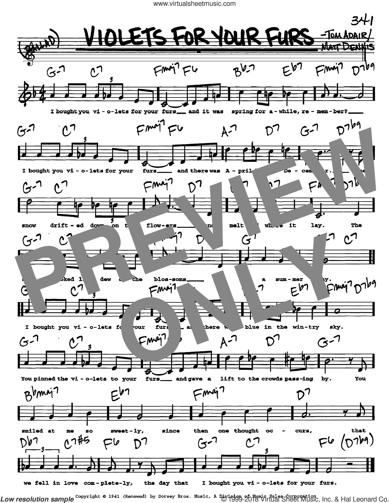 Violets For Your Furs sheet music for voice and other instruments (Vocal Volume 2) by Tom Adair