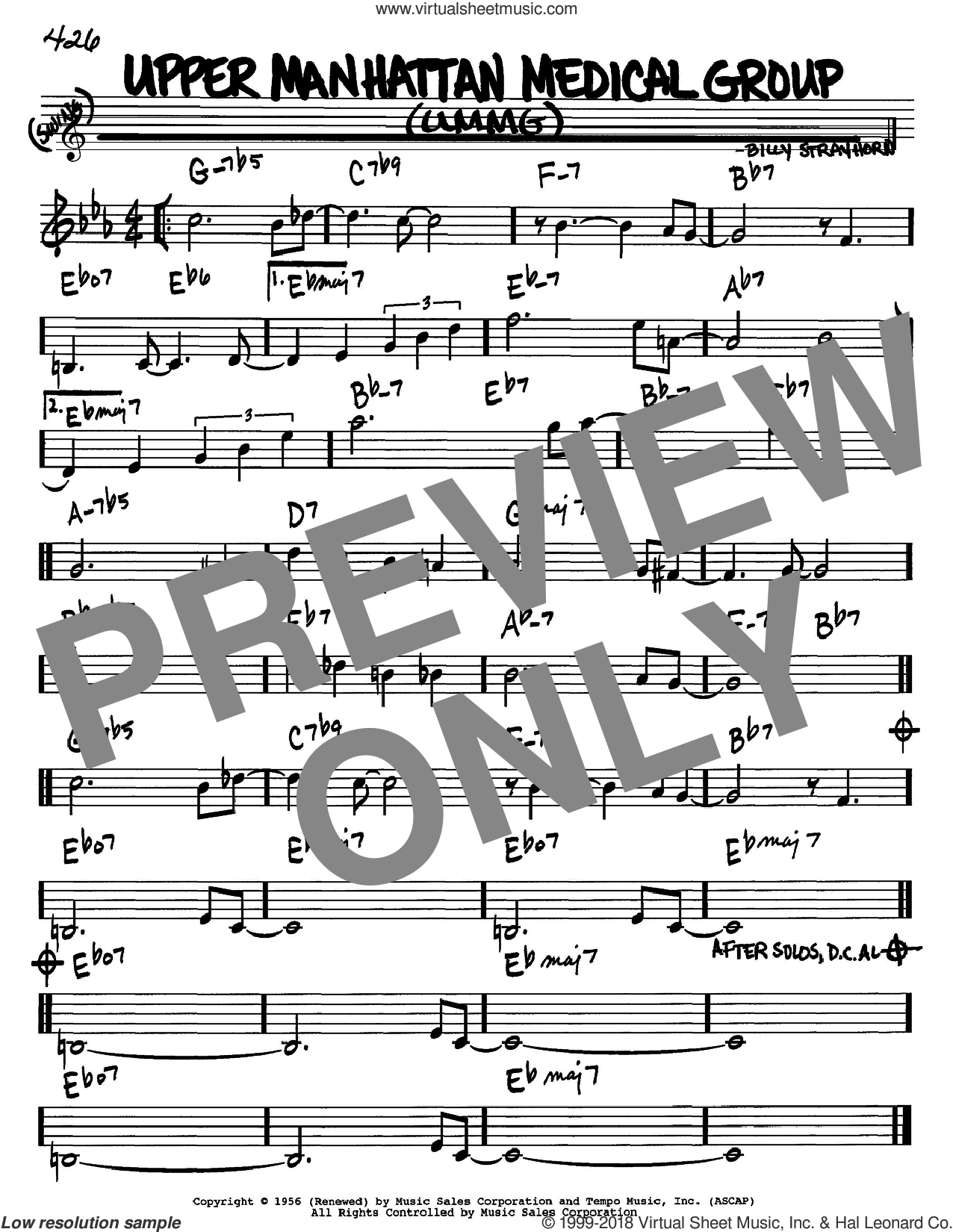 Upper Manhattan Medical Group (UMMG) sheet music for voice and other instruments (in Bb) by Billy Strayhorn, intermediate