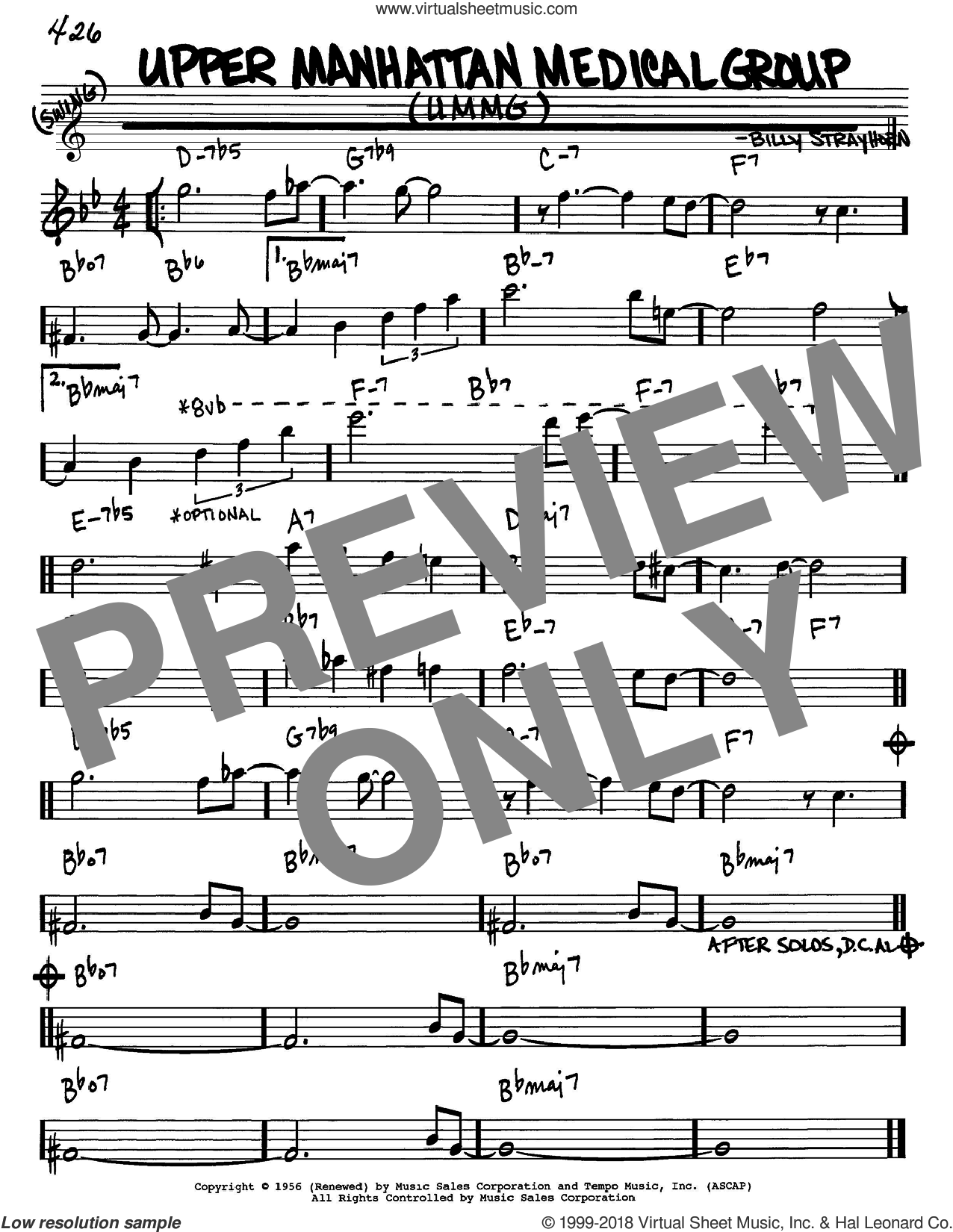 Upper Manhattan Medical Group (UMMG) sheet music for voice and other instruments (Eb) by Billy Strayhorn. Score Image Preview.