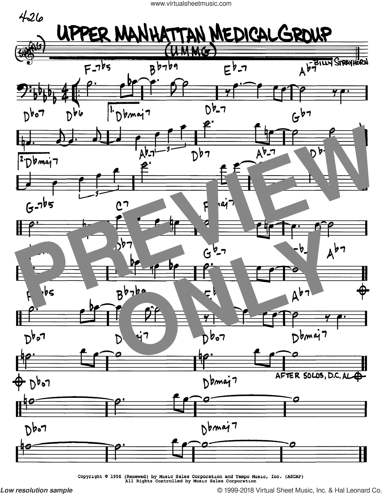 Upper Manhattan Medical Group (UMMG) sheet music for voice and other instruments (Bass Clef ) by Billy Strayhorn. Score Image Preview.