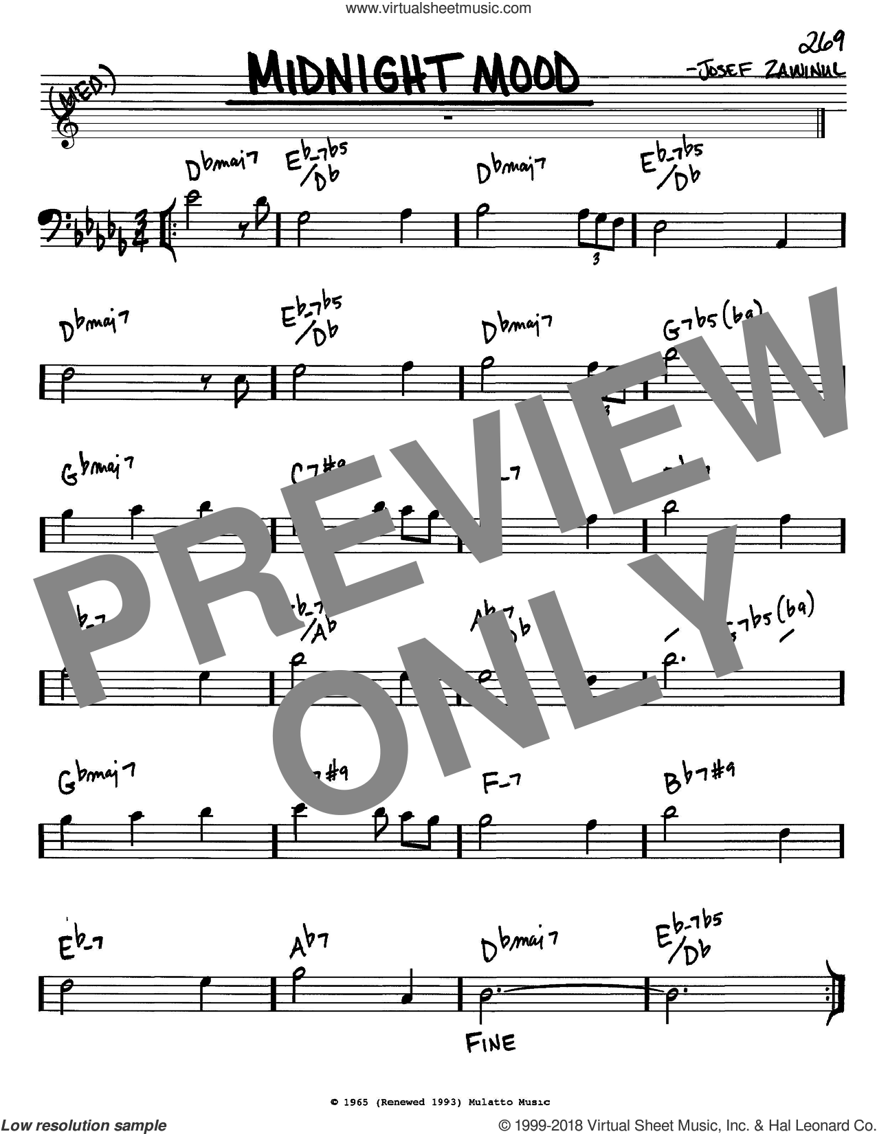 Midnight Mood sheet music for voice and other instruments (Bass Clef ) by Ben Raleigh, Bill Evans and Josef Zawinul. Score Image Preview.