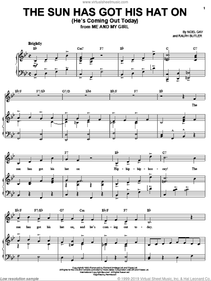 The Sun Has Got His Hat On (He's Coming Out Today) sheet music for voice and piano by Noel Gay, Joan Frey Boytim and Ralph Butler, intermediate. Score Image Preview.