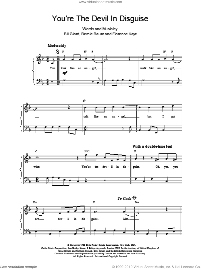 You're The Devil In Disguise sheet music for piano solo (chords) by Florence Kaye