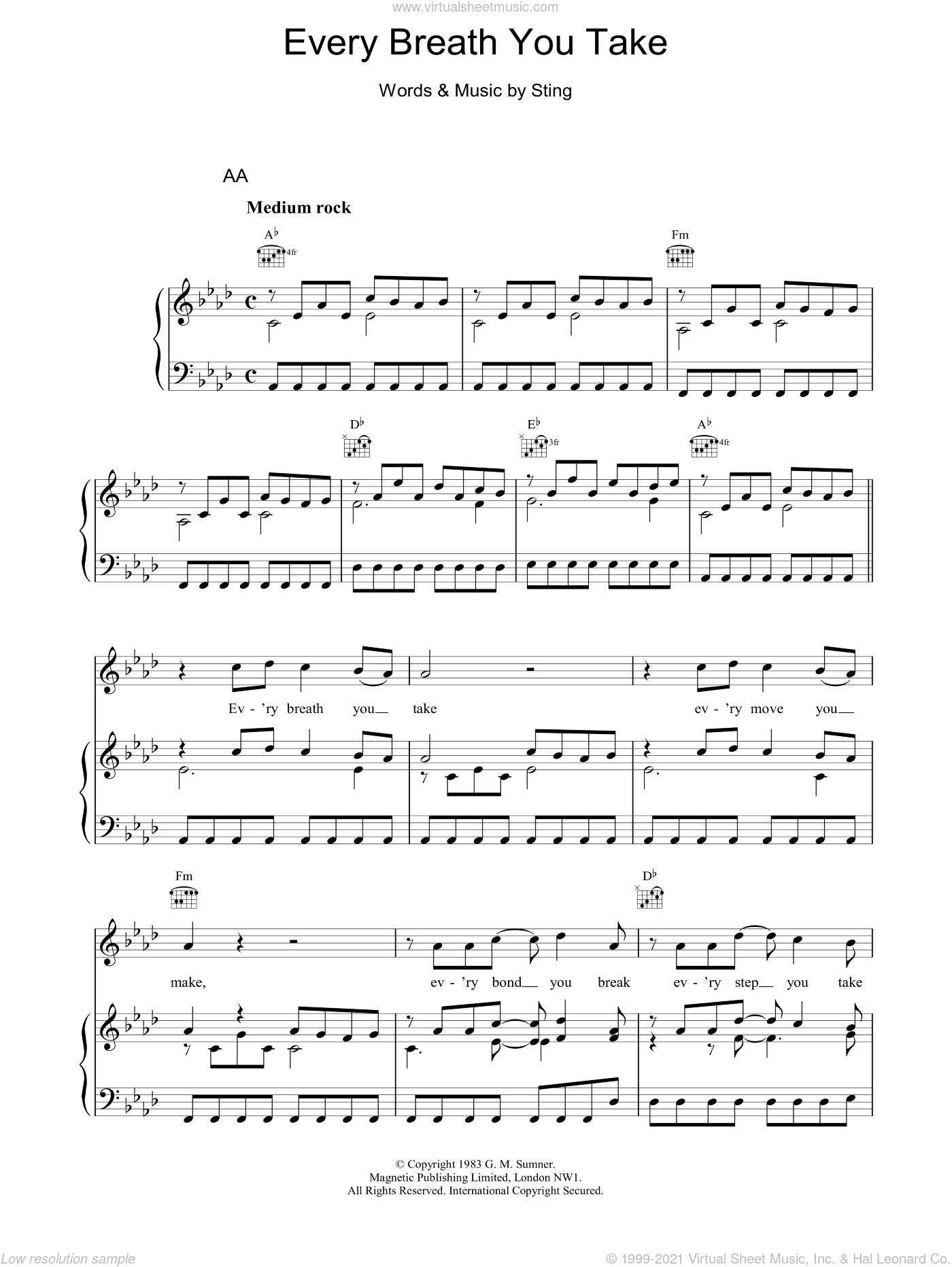 Every Breath You Take sheet music for voice, piano or guitar by The Police and Sting. Score Image Preview.