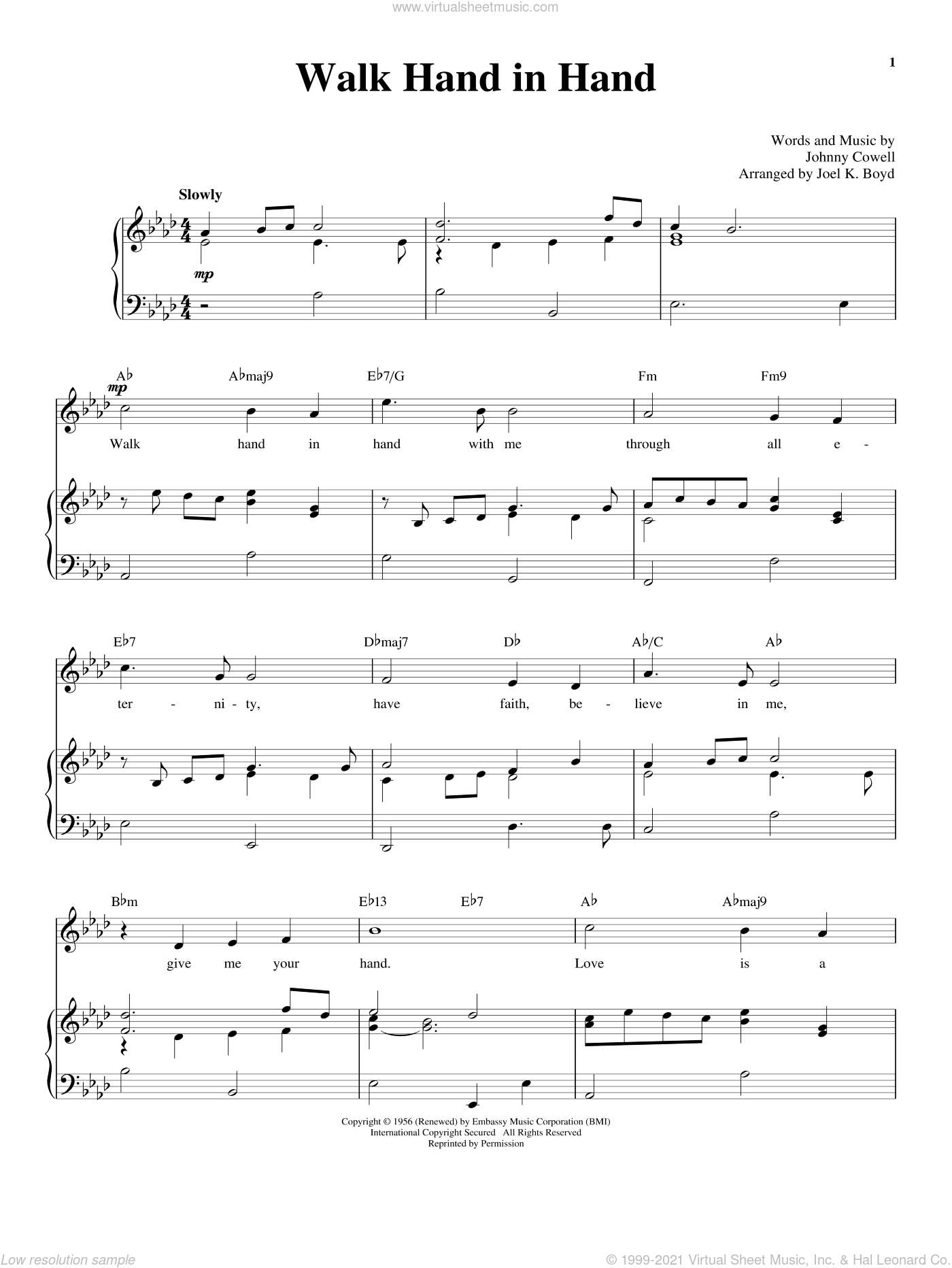 Walk Hand In Hand sheet music for voice and piano by Johnny Cowell and Richard Walters, wedding score, intermediate. Score Image Preview.
