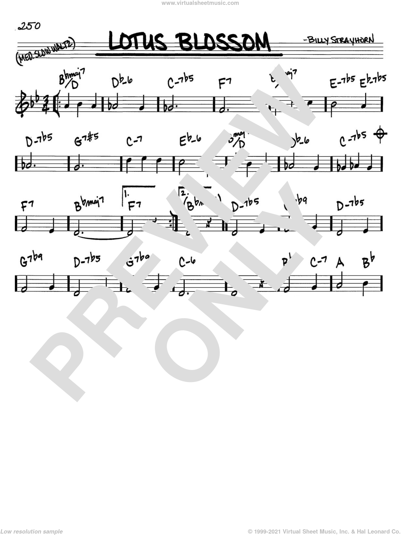 Lotus Blossom sheet music for voice and other instruments (C) by Billy Strayhorn. Score Image Preview.