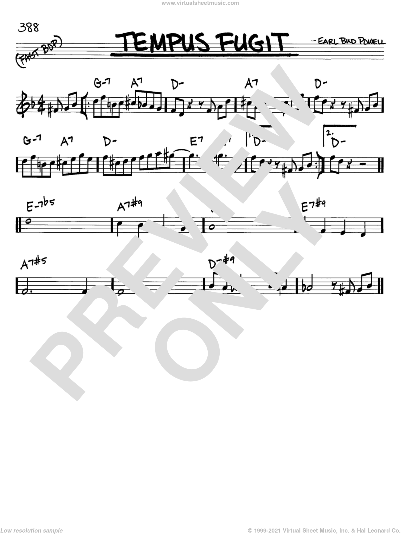 Tempus Fugit sheet music for voice and other instruments (C) by Bud Powell, intermediate. Score Image Preview.