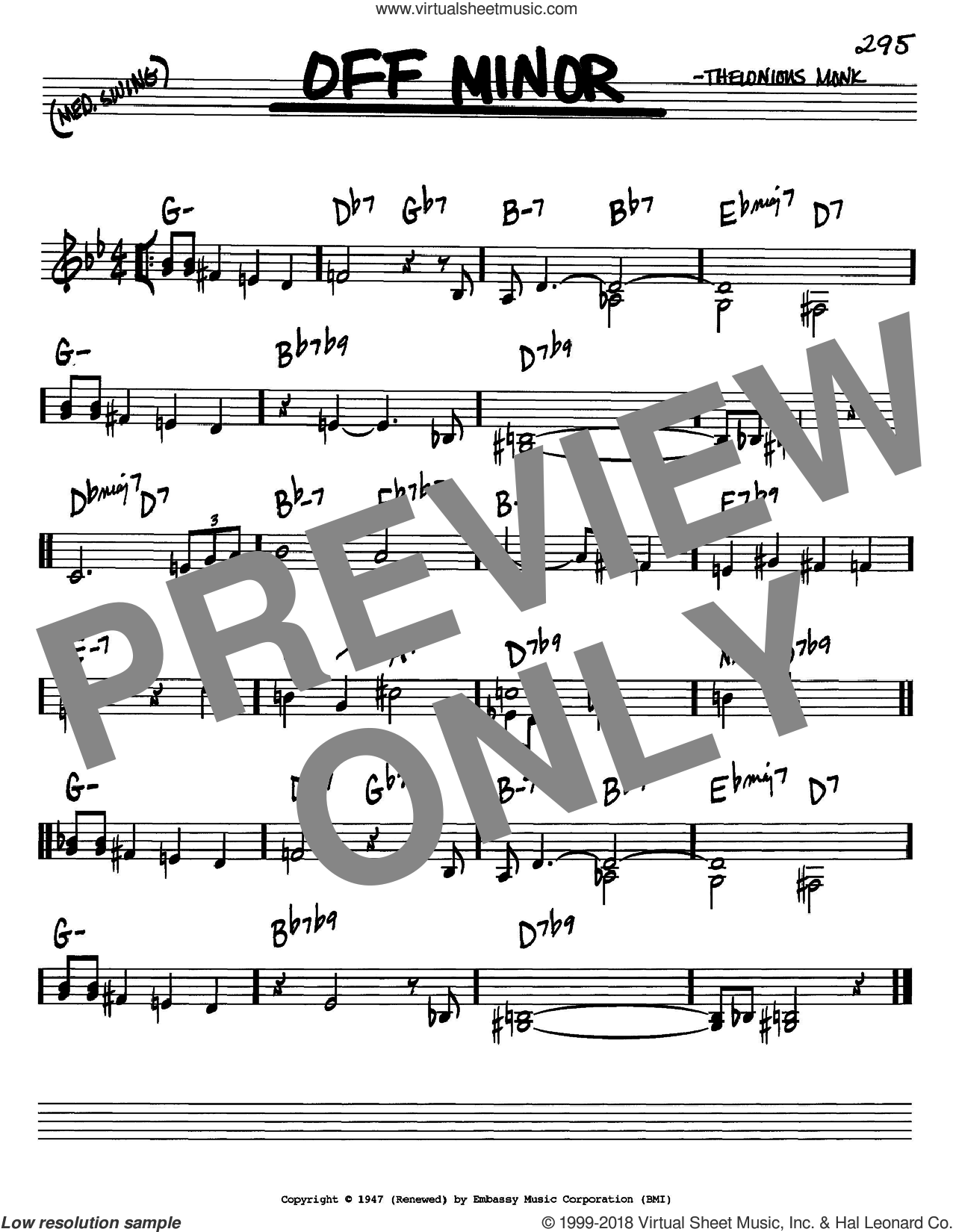 Off Minor sheet music for voice and other instruments (C) by Thelonious Monk. Score Image Preview.