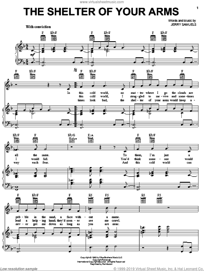 The Shelter Of Your Arms sheet music for voice, piano or guitar by Sammy Davis, Jr. and Jerry Samuels, intermediate skill level