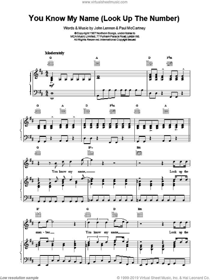 You Know My Name (Look Up The Number) sheet music for voice, piano or guitar by Paul McCartney and The Beatles. Score Image Preview.