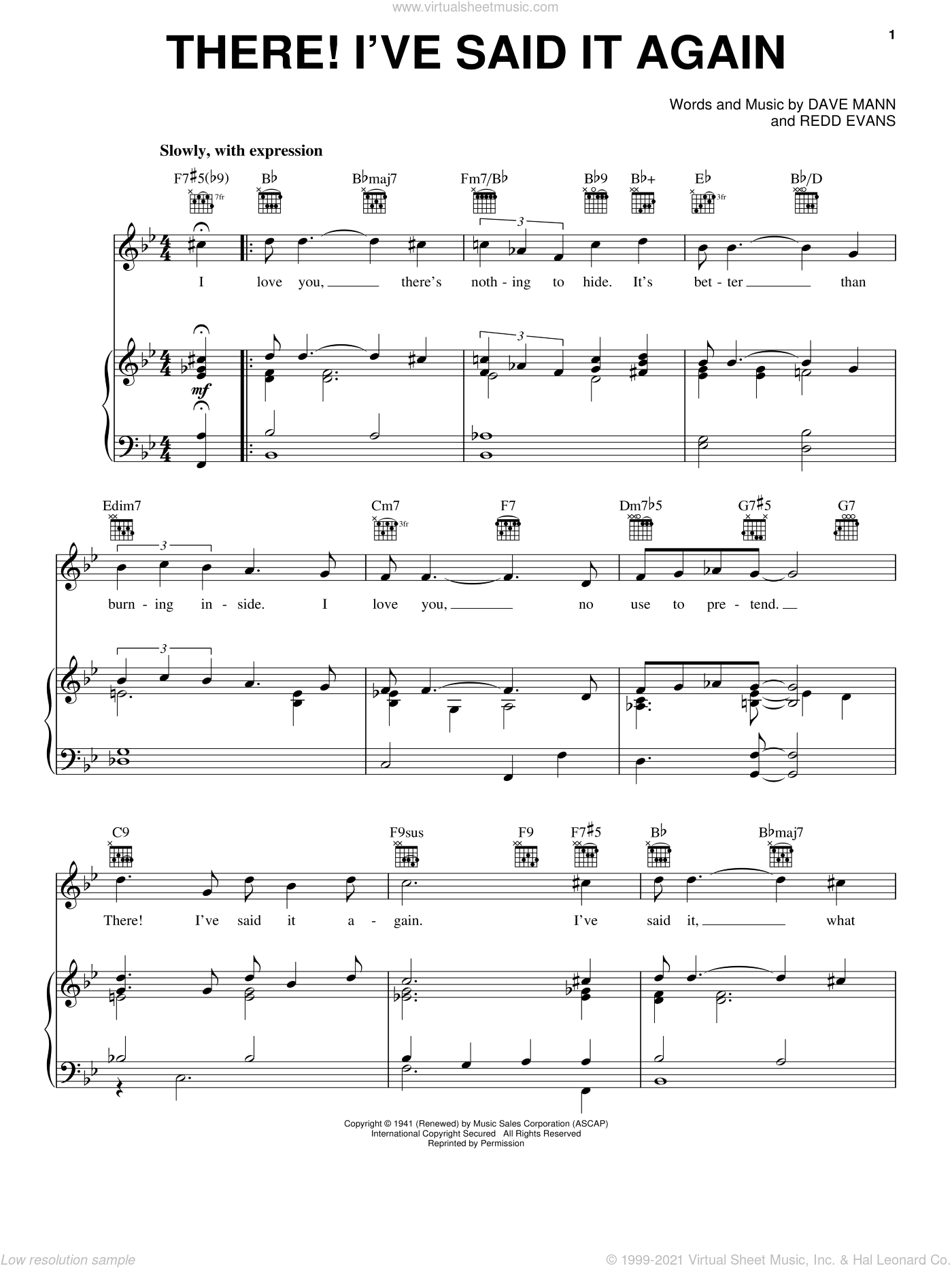 There! I've Said It Again sheet music for voice, piano or guitar by Vaughn Monroe, Bobby Vinton, Dave Mann and Redd Evans, intermediate skill level