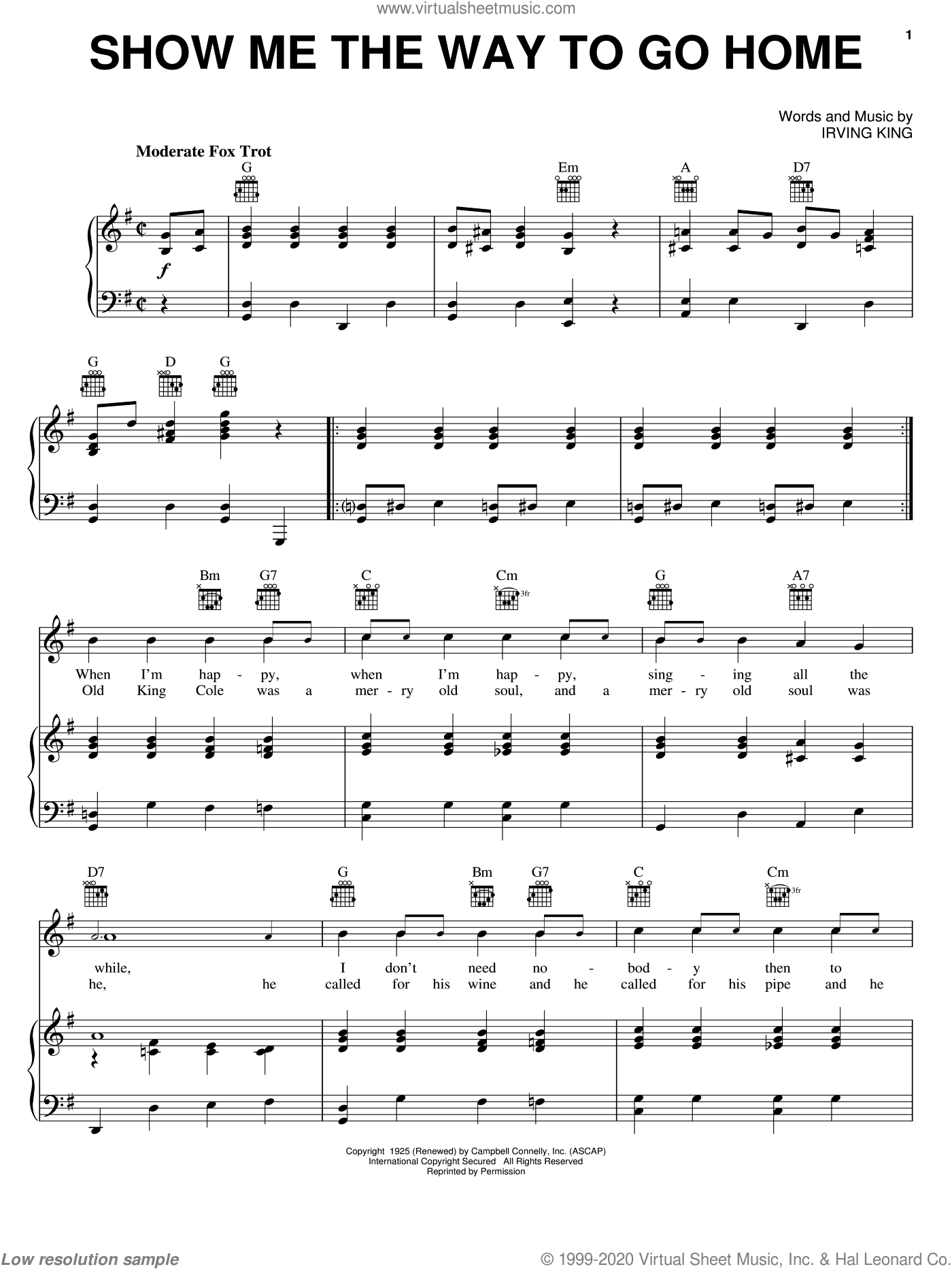 Show Me The Way To Go Home sheet music for voice, piano or guitar by Irving King, intermediate