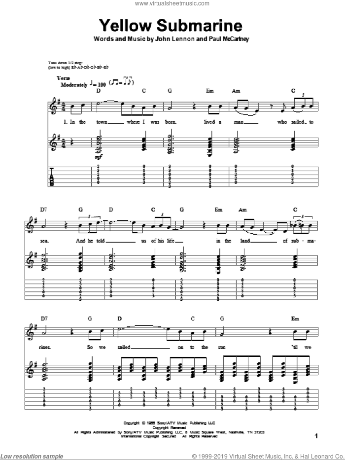 Yellow Submarine sheet music for guitar (tablature, play-along) by Paul McCartney, The Beatles and John Lennon. Score Image Preview.