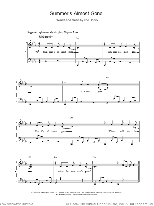 Summer's Almost Gone sheet music for voice, piano or guitar by The Doors