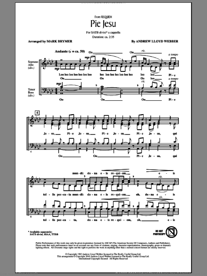 Pie Jesu (from Requiem) sheet music for choir (SATB: soprano, alto, tenor, bass) by Andrew Lloyd Webber and Mark Brymer, intermediate skill level