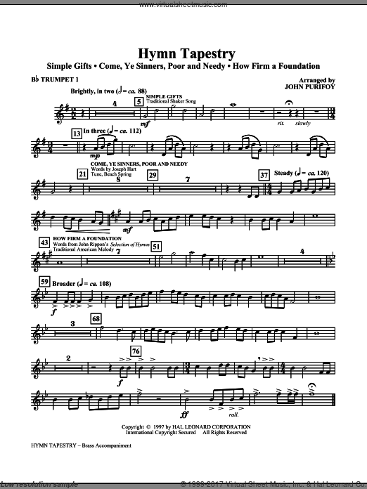 Hymn Tapestry (COMPLETE) sheet music for orchestra by John Purifoy