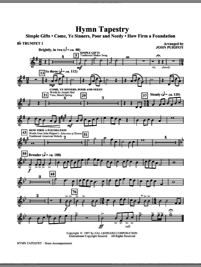 Hymn Tapestry (complete set of parts) sheet music for orchestra/band (Brass) by John Purifoy, intermediate skill level