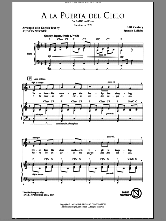 A La Puerta Del Cielo sheet music for choir (SATB: soprano, alto, tenor, bass) by Audrey Snyder and Miscellaneous, intermediate skill level