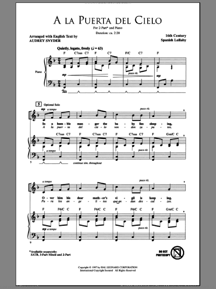 A La Puerta Del Cielo sheet music for choir and piano (duets)