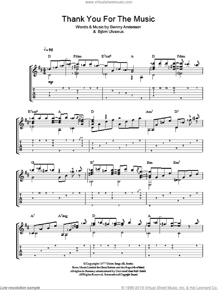 Thank You For The Music sheet music for guitar solo (easy tablature) by ABBA, Benny Andersson and Bjorn Ulvaeus. Score Image Preview.