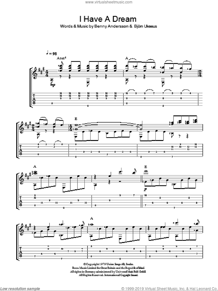 I Have A Dream sheet music for guitar solo (easy tablature) by ABBA, Westlife, Benny Andersson and Bjorn Ulvaeus, easy guitar (easy tablature). Score Image Preview.