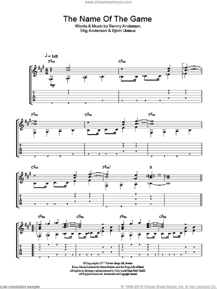 The Name Of The Game sheet music for guitar solo (easy tablature) by Stig Anderson, ABBA, Benny Andersson and Bjorn Ulvaeus. Score Image Preview.