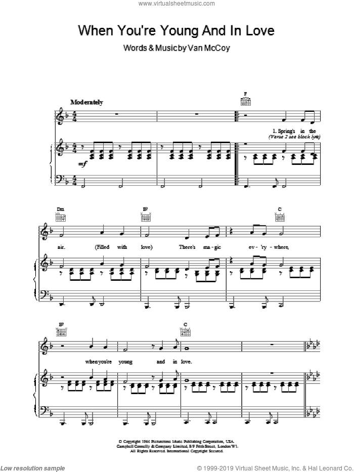 When You're Young And In Love sheet music for voice, piano or guitar by The Marvelettes and Van McCoy, intermediate skill level