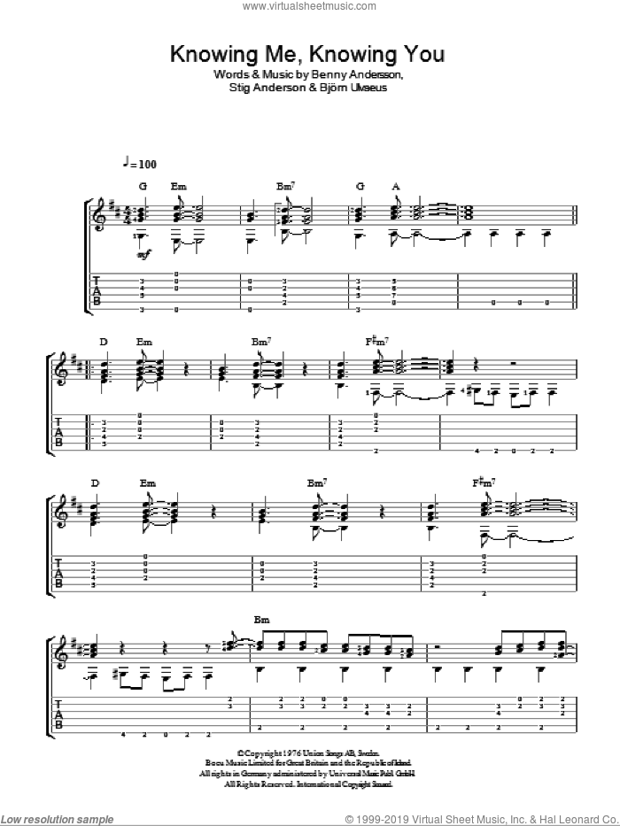 Knowing Me, Knowing You sheet music for guitar solo (easy tablature) by ABBA, Benny Andersson, Bjorn Ulvaeus and Stig Anderson, easy guitar (easy tablature). Score Image Preview.