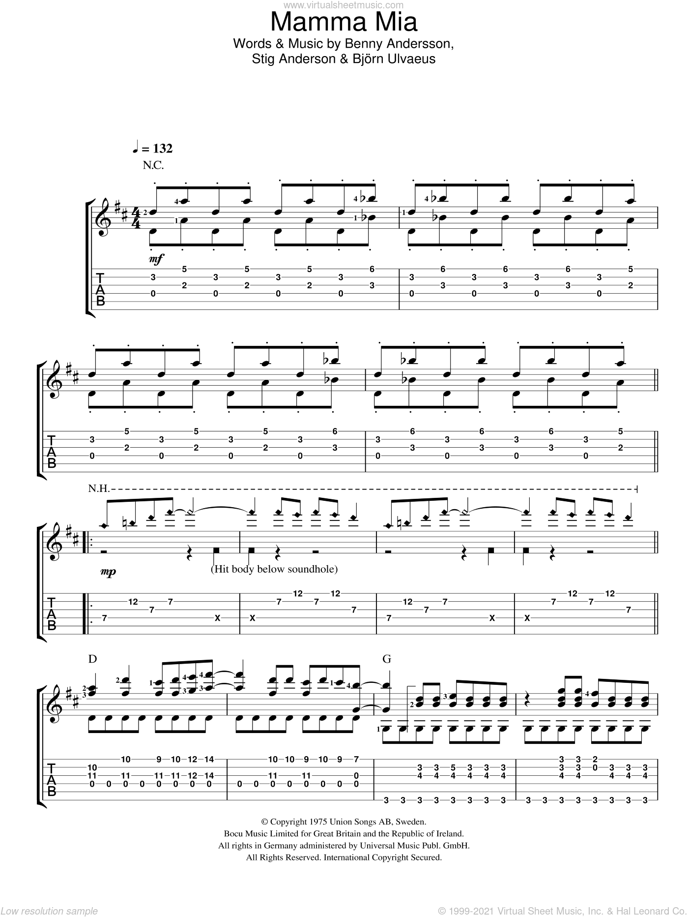 Mamma Mia sheet music for guitar solo (easy tablature) by Stig Anderson, ABBA, Benny Andersson and Bjorn Ulvaeus. Score Image Preview.