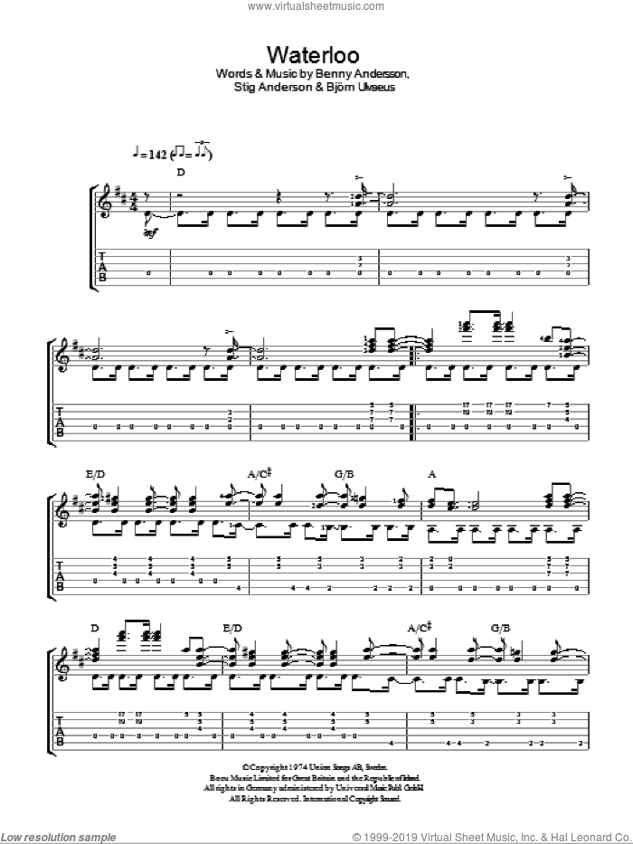 Waterloo sheet music for guitar solo (easy tablature) by ABBA, Benny Andersson, Bjorn Ulvaeus and Stig Anderson, easy guitar (easy tablature)