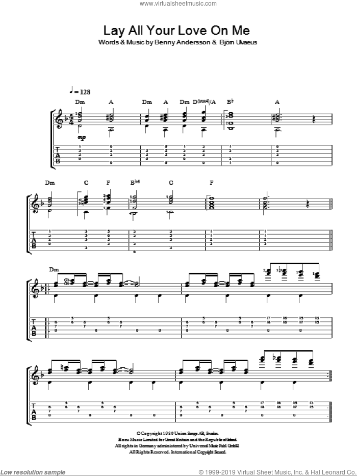 Lay All Your Love On Me sheet music for guitar solo (easy tablature) by Bjorn Ulvaeus, ABBA and Benny Andersson. Score Image Preview.