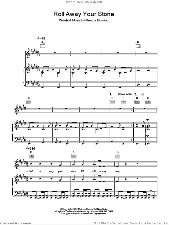 Roll Away Your Stone sheet music for voice, piano or guitar by Mumford & Sons and Marcus Mumford. Score Image Preview.