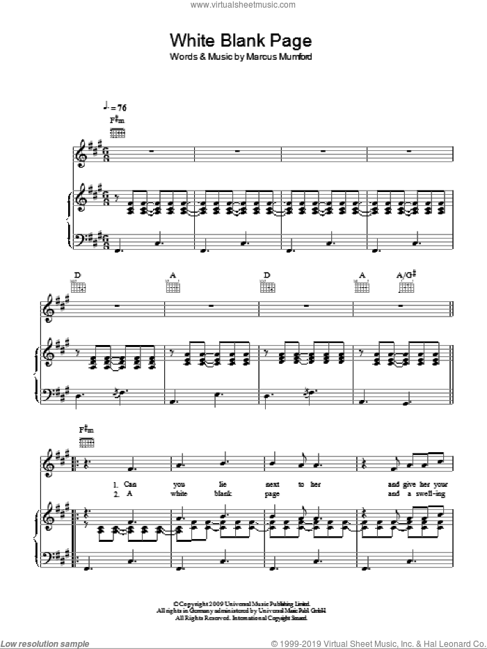 White Blank Page sheet music for voice, piano or guitar by Marcus Mumford