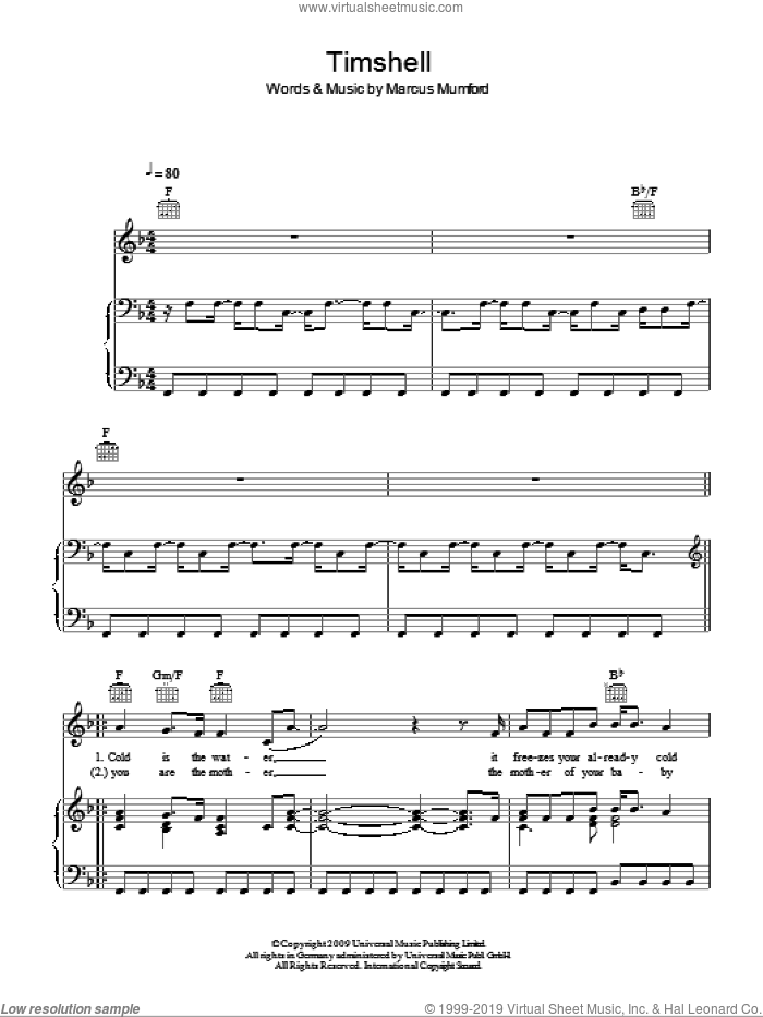 Timshel sheet music for voice, piano or guitar by Mumford & Sons and Marcus Mumford, intermediate skill level