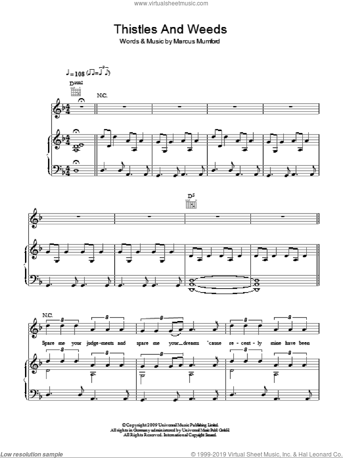 Thistle And Weeds sheet music for voice, piano or guitar by Mumford & Sons and Marcus Mumford, intermediate skill level