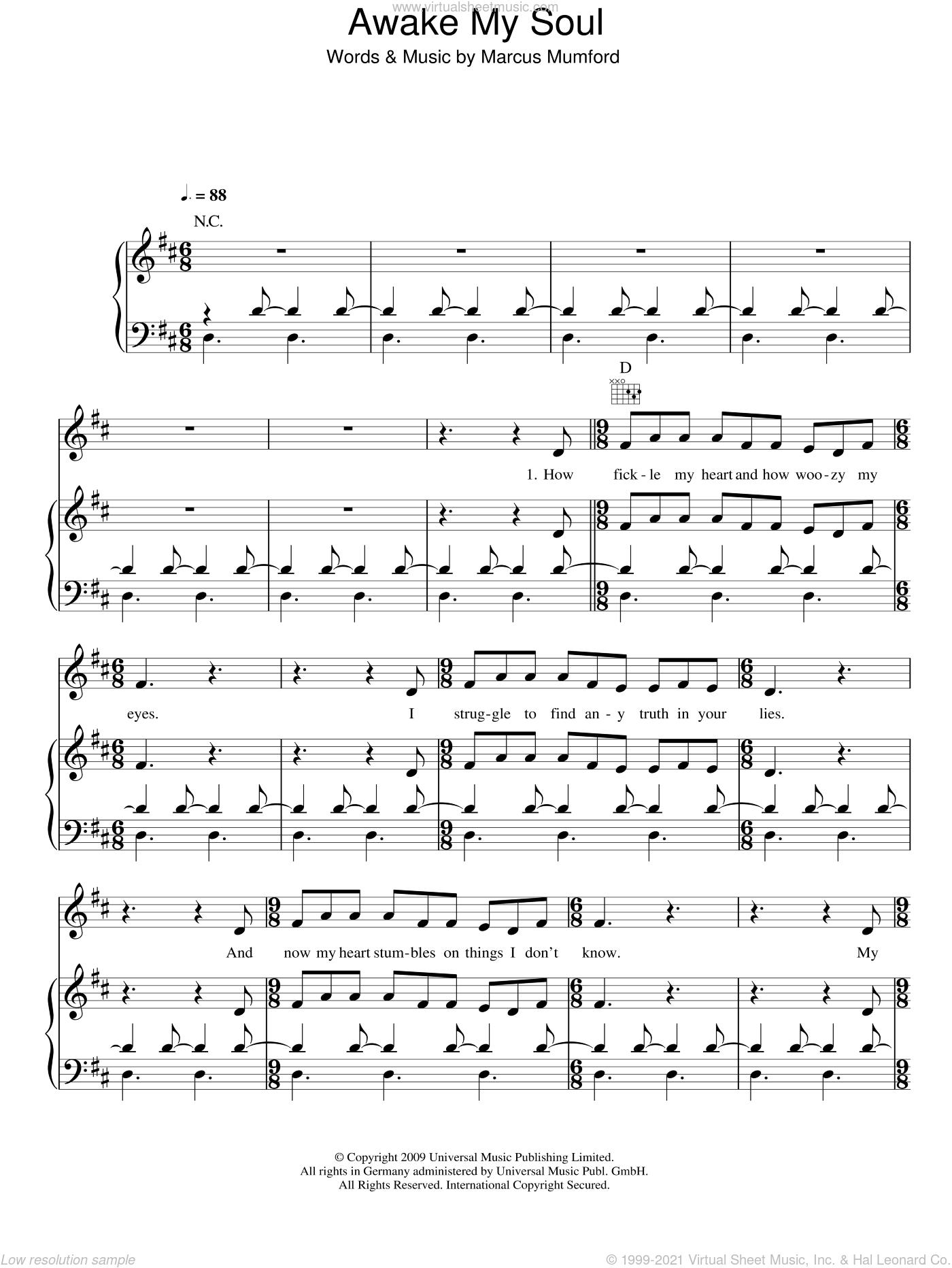Awake My Soul sheet music for voice, piano or guitar by Marcus Mumford and Mumford & Sons. Score Image Preview.