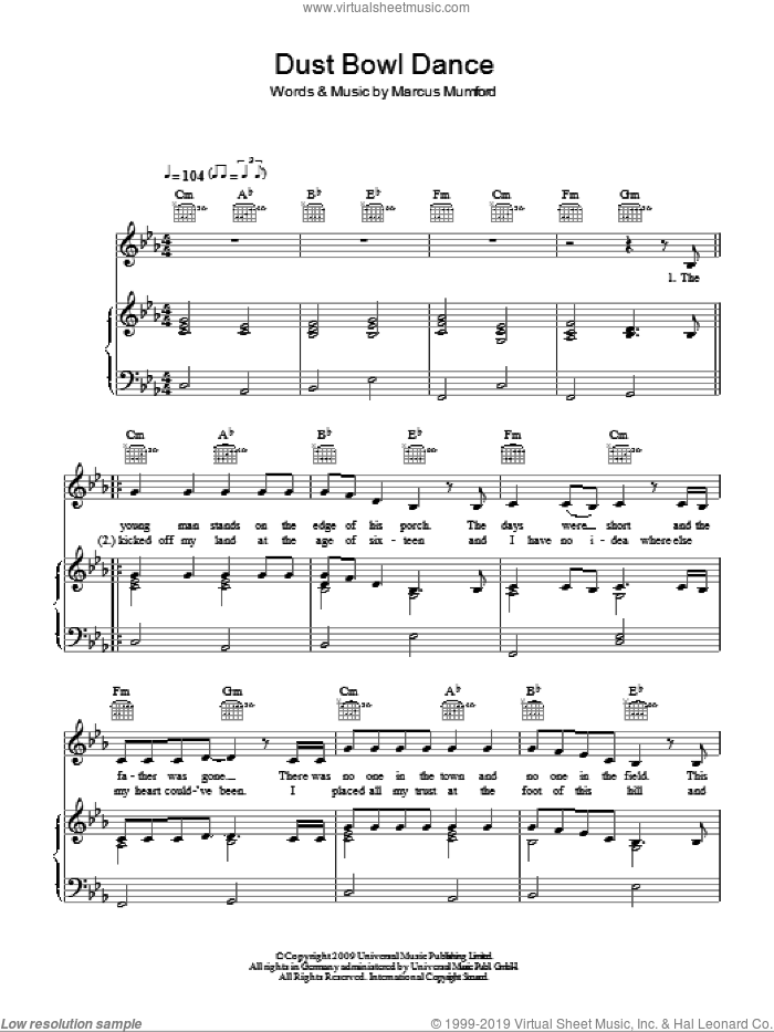 Dust Bowl Dance sheet music for voice, piano or guitar by Marcus Mumford and Mumford & Sons. Score Image Preview.